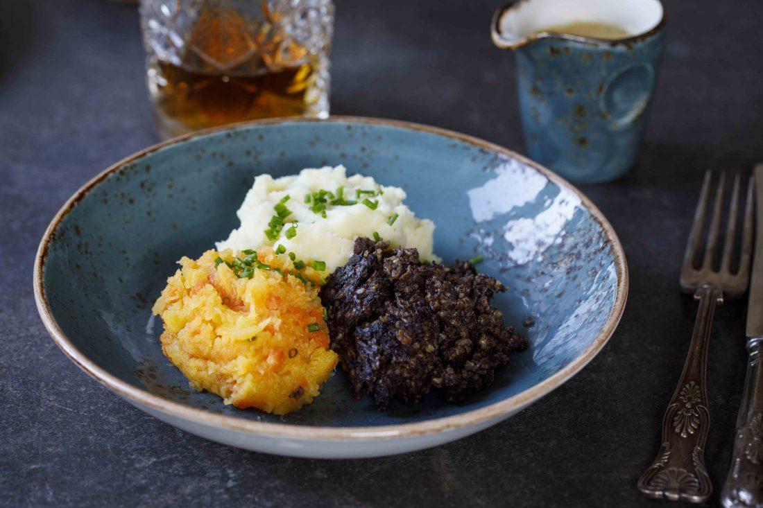 Scottish dish of haggis, neeps and tatties The Crieff Food Co